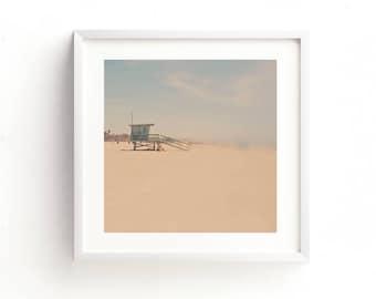 beach printable, lifeguard station photograph, Santa Monica picture, beach download, summer decor, baby nursery printable, girls room art