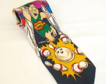 Vintage Flintstones Novelty Necktie, Hanna Barbera Tie, Animated TV Cartoon, Fred, Wilma, Barney, Betty, Water Buffalo Lodge, Funny Neckwear