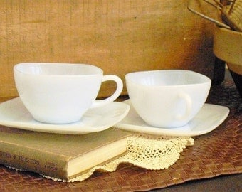 Vintage Fire King Delphite Tea Cups and Saucers Set, Azurite, Dainty Tea Cup Set, Mother's Day Gift, Gift for Newlyweds, Bridal Shower Gift