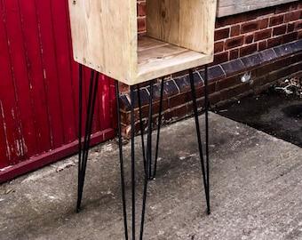 Heppinn Mini - Handmade Reclaimed Wood Side Table/Record Stand with Steel Hairpin Legs. Custom Made To Order.