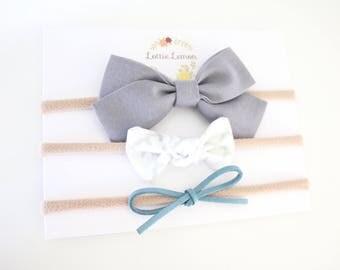 Piper Bow Trio/ baby bow set/ baby headbands/ cute baby bows/ nylon headbands/ summer baby bows