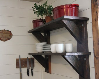 Rustic Solid Wood Shelf Set-  Kitchen Farmhouse Floating Shelves Handmade