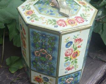 Floral tin made in Belgium/round biscuit tin/tin box/vintage tin/keepsake tin/keepsake box/70's tin/candy tin