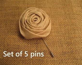 5 burlap lapel or craft pins