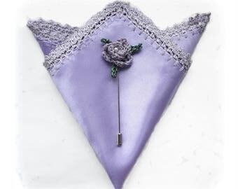 Men's Gift Set Lavender Color, Lapel Pin Rose Brooch, Crochet Lace Border Lilac Pocket Square, Mauve Handkerchief and Pin, Lavender Wedding