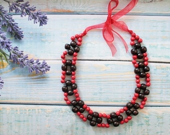 Red black flower necklace beaded  red jewelry statement modern necklace, red bridesmaids elegant  nature necklace wooden anniversary