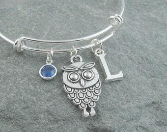 Owl bracelet, silver owl jewelry, initial bracelet, swarovski birthstone, personalized jewelry, gift for her, owl charm bracelet, owl gift