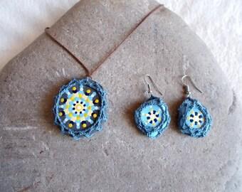 crochet jewelry set, painted stones, mandala jewelry, river stone jewelry, handpainted stones, blue crochet earrings and trailer