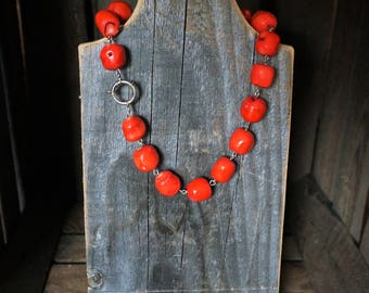 Necklace of bamboo coral and silver