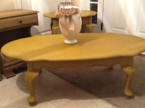 Coffee Table And Matching End Tables In Curry Chalk Paint And