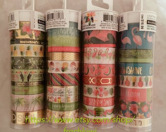 4 Tubes!!! Recollections Washi Tape Tropical set. Pineapple. watermelon. surf. flamingo. beach