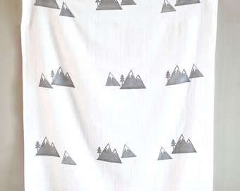 Mountain Peak linen tea towel - Mountain swaddling blanket - mountain kitchen towel - Mountain home decor -muslin - Christmas Gifts under 30