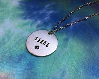 Femme Necklace - Femme Flower Necklace - Femme AF - Lesbian Necklace - Queer Necklace - Queer Femme - Queer Women