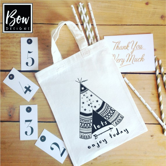 SCANDI kids TEEPEE party bags, kids party decor,