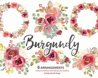 Watercolor Burgundy Wreaths, arrangements, Flower Clip Art Hand Drawn Flowers