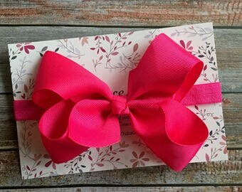 Hot Pink Bow Headband, Big Bow Headband, Baby Headband, Newborn Headband, Bow Headband, Baby Bow Headband, Infant Headband, Girl Headband