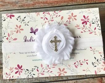 Baptism Headband/Christening Headband/Cross Headband/Baby Headband/Baby Girl Headband/Newborn Headband/Infant Headband/Baptism/Headbands