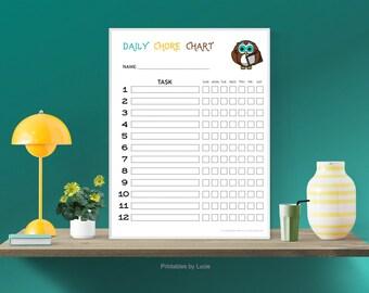 12 FUN KIDS Chore Charts with colorful little OWLS, Printable, Responsibility Chart, Chores, Reward Chart, Job Chart, Digital