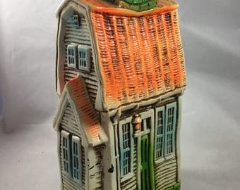Vintage Weird Orange and Green Crooked House Bank Made in Japan