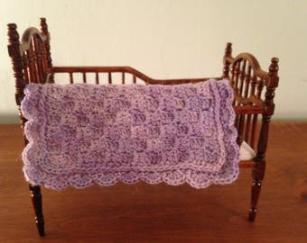 Dollhouse miniature, hand crocheted crib blanket/twin bed/afghan/blanket/throw/ shades of lilac