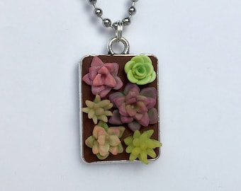 Succulent necklace - garden jewelry - green thumb gift