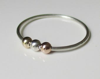Lilias Fidget Ring, Worry Bead Ring, Spinner Ring, Anxiety Jewelry