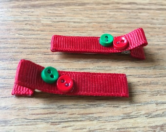 Hair clips - red, green, christmas - baby girl, child