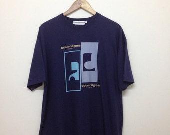Courreges Paris T-Shirt 90s Courreges Homme Paris Big Logo Designer T-Shirt Navy Blue Size M