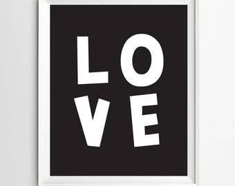 Love printable wall art - Nursery print - typography poster - neutral nursery decor - Black and white art - downloadable art - kids decor
