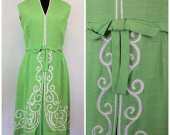 Vintage 1960s Soutache Trim Dress - Linen Party Dress with Bow Belt - Green 60s Dress - Size Medium