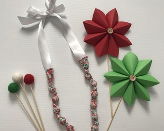 Fabric Beaded Necklace- Red Floral