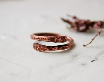 Copper ring - hammered copper ring -  rustic ring - minimalist  ring - textured ring - bands rings - Copper Jewelry - Unique gift - for her