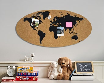 Map of the world - pin board , mail organizer - cork board - plaque on the wall - Pin-News