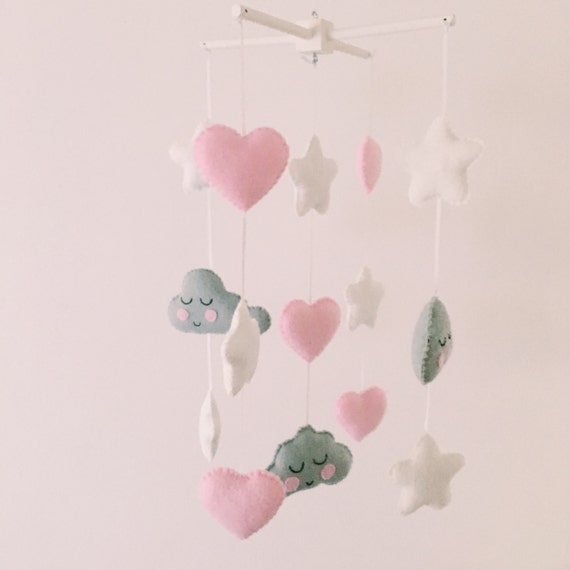 Kawaii grey cloud baby mobile with pink by foxesandbumblebees for Baby mobile pink and grey