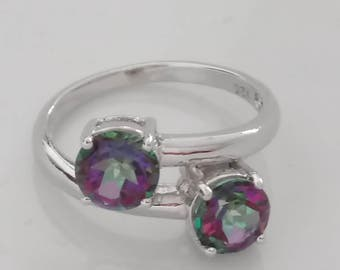 1 Cts Natural Mystic Fire Topaz Sterling Silver Ring