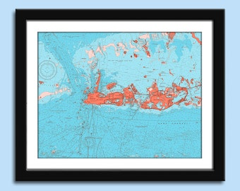 Key West FL - Key West FL Chart - Florida Keys - Nautical Chart Decor