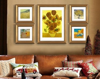 ABM Home - Van Gogh's sunflower Wall Art, Large Wall Picture Frame, Vintage Style, Wall Mural, Framed Canvas, Large Poster