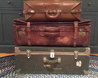 Reserve for Scarlett Large vintage leather suitcase from 1940