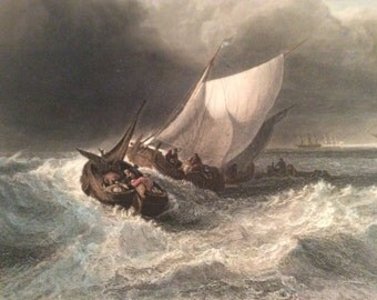 Vintage J M W Turner Pinx print Dutch boat in Gale color print