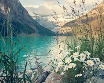 LAKE LOUISE mountain wall decor print, MOUNTAIN ranges decor for homes, mountain lake print art, mountain photo decor, fine art photography