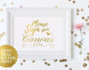 Please Sign our Canvas Sign / Guestbook Canvas Sign / Gold Foil Wedding Signage / Guest Canvas Sign in / Alternative Guest Book