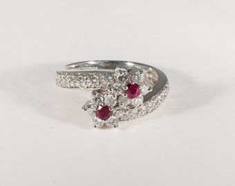 14K White Gold Ruby and Diamond Ring, 5.4 grams, size 6.5