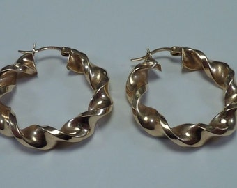 "14K Yellow Gold 1-3/16"" Round Twisted Hoop Earrings"