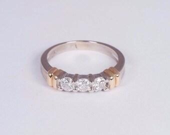 14K Yellow and White Gold 3 Stone Diamond Ring 2/3 ct. tw., size 8