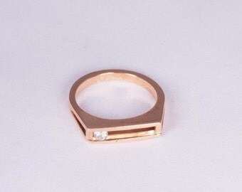 14K Yellow Gold Diamond Slide Ring (movable stone) , size 4.5