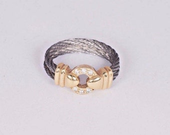 Stainless Steel and 18K Yellow Gold Diamond Ring, Size 5.25