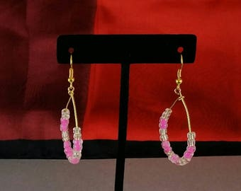 Hot pink and clear bead hoop earrings