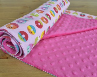 Donut Minky Baby Blanket - Colorful Light Pink and Bright Pink - Baby Shower Gift