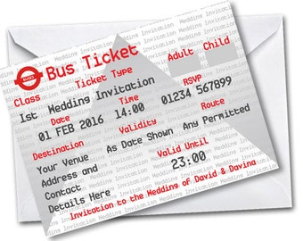 Birthday Party Invitations - Gardia Design Pack of 20 Personalised Bus Tickets