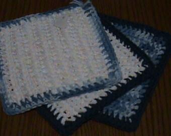 Crochet Dishcloths - White and Blues - Set of 3